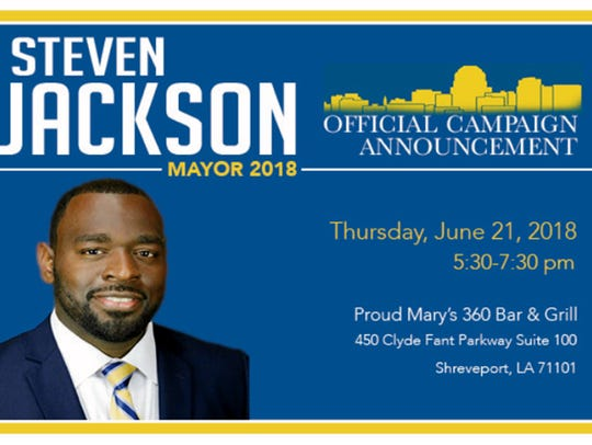 Steven Jackson flyer for a campaign announcement at