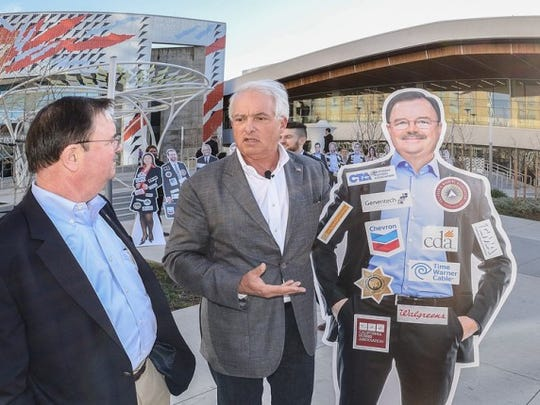 Businessman John Cox, who owns a home in Indian Wells, confronts Assembly member Rich Gordon outside the 2016 Democratic Convention.