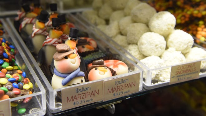 A view of some Italian marzipan shaped like snowmen and penguins at Samuel's Sweet Shop in Rhinebeck.