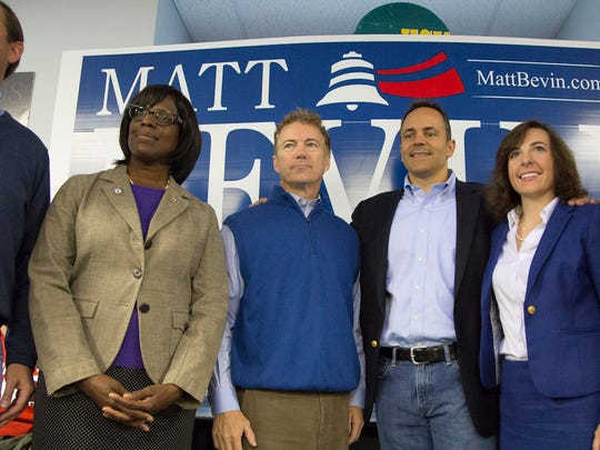 From left, U.S Rep. Andy Barr, Lt. Gov. candidate Jenean Hampton, U.S Sen. Rand Paul, GOP candidate for governor Matt Bevin, state treasurer candidate Allison Ball, and secretary of state candidate Steve Knipper pose for a portrait after a rally at Kentucky State University's Baptist Campus Ministry in Frankfort, Ky. October 3, 2015.