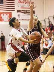 Susquehannock's Jayla Galbreath (23), goes up for the