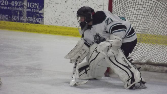 Bay Area Ice Bears junior goalie Ana Holzbach made 42 saves in a 1-1 tie on Saturday against the Central Wisconsin Storm.