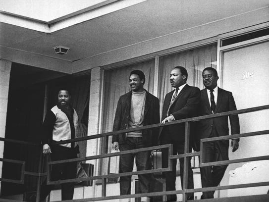 In this April 3, 1968 file photo, the Rev. Martin Luther