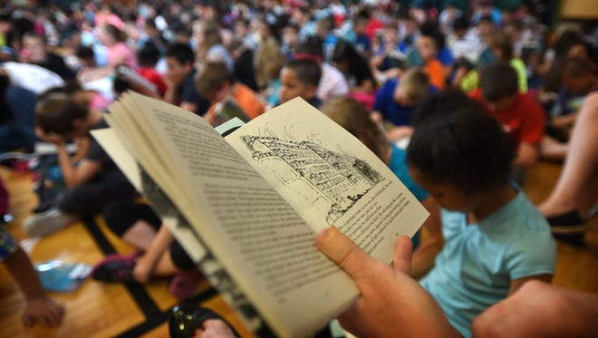 'The BFG,' written by Raold Dahl is the One Book, One School selection. Henry Houck Elementary School in Lebanon kicked off its event on Tuesday, April 26, 2016, with Lebanon School District Superintendent Marianne Bartley reading the book to the students. 'The BFG' stands for The Big Friendly Giant.