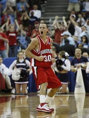 Then-Davidson Wildcats guard Stephen Curry (30) reacts during the Wildcats' 82-76 victory against the Gonzaga in the first round of the 2008 NCAA Tournament.
