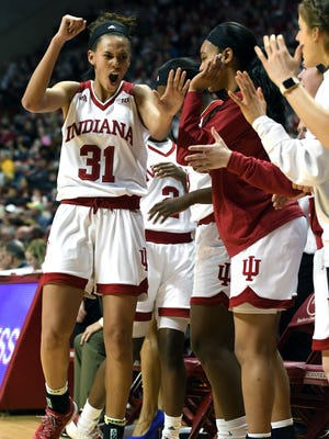 Indiana Hoosiers forward Bre Wickware (31) celebrates as she walks off the court against Purdue at Simon Skjodt Assembly Hall in Bloomington, Ind., on Thursday, March 22, 2018.
