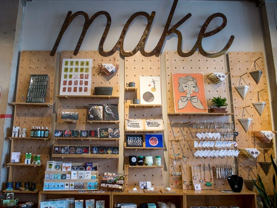 "A ""make"" sign hangs in Rala at 122 W. Jackson Ave. in the Old City. The store sells local goods and gifts."