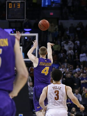 Northern Iowa guard Paul Jesperson shoots a buzzer-beater to win the game for Northern Iowa against Texas in first-round men's college basketball game in the NCAA Tournament, Friday, March 18, 2016, in Oklahoma City. Northern Iowa won 75-72. (AP Photo/Sue Ogrocki)