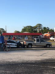 Titusville police officer apparently rear-ended a truck on SR 50 on Thursday night.