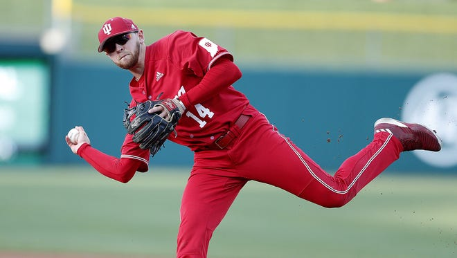 FILE – Matt Lloyd had three hits and three RBIs and finished on the mound in IU's 9-7 win over Texas A&M in Sunday's NCAA regional elimination game.