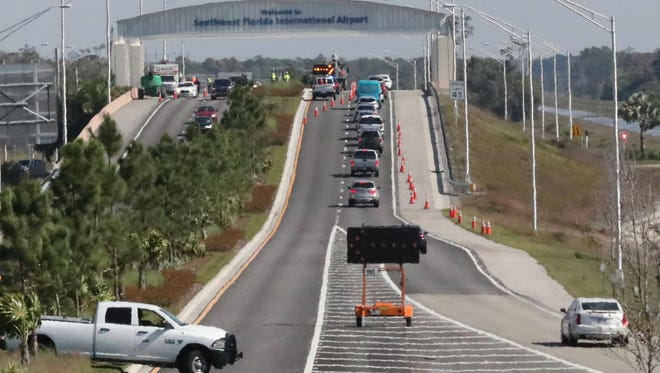 The Southwest Florida International Airport entrance is now open to one lane.