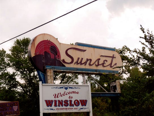 The Sunset Drive-In neon sign was moved to Winslow,