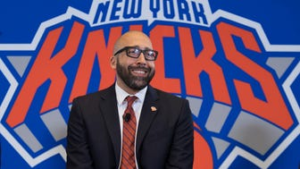 New York Knicks NBA basketball team new head coach David Fizdale smiles during an introductory news conference, Tuesday, May 8, 2018, in New York. The Knicks announced the hiring Monday after agreeing to terms with the former Memphis Grizzlies coach last week.