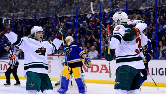 The Minnesota Wild's Charlie Coyle (3) celebrates after scoring against the St. Louis Blues in Game 4.