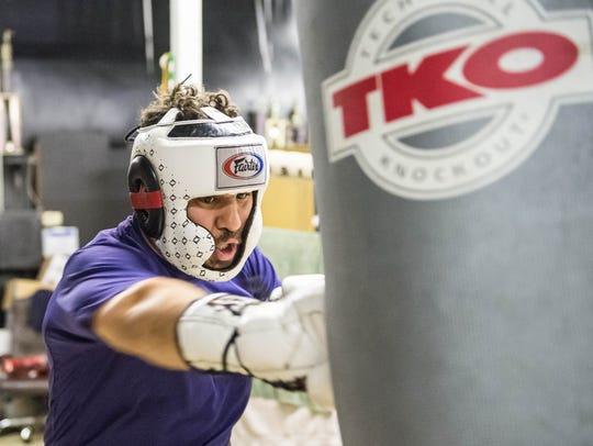 Matt Broussard sparring on Thursday night as he prepares