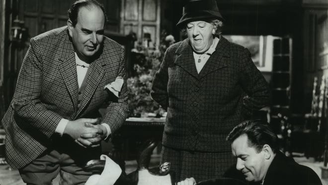 """Robert Morley (left), Margaret Rutherford and Charles Tingwell star in """"Murder at the Gallop"""""""
