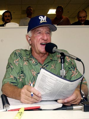 Milwaukee Brewers' radio announcer Bob Uecker works out of the radio booth during a game against the Pittsburgh Pirates Monday, July 7, 2003, at Miller Park in Milwaukee.