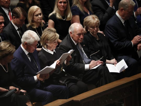 From left, former first lady Laura Bush, former President Bill Clinton, former Secretary of State Hillary Clinton, former vice president Dick Cheney and his wife Lynne and former vice president Al Gore arrive at a memorial service for Sen. John McCain, R-Ariz., at Washington Nationals Cathedral in Washington, Saturday, Sept. 1, 2018. McCain died Aug. 25, from brain cancer at age 81. (AP Photo/Pablo Martinez Monsivais)