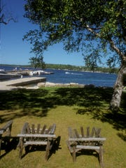 View of the water from the restort's main lodge at Alpine Resort and Golf Course, Egg Harbor.