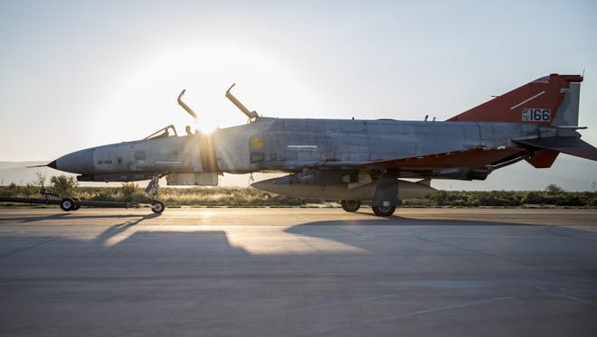 A QF-4 Phantom sits on the flight line before its final unmanned mission at Holloman Air Force Base on Aug. 17. During its final mission, the QF-4 served its primary function as an aerial target and was shot at by an F-35 Lightning II from Edwards Air Force Base, California.