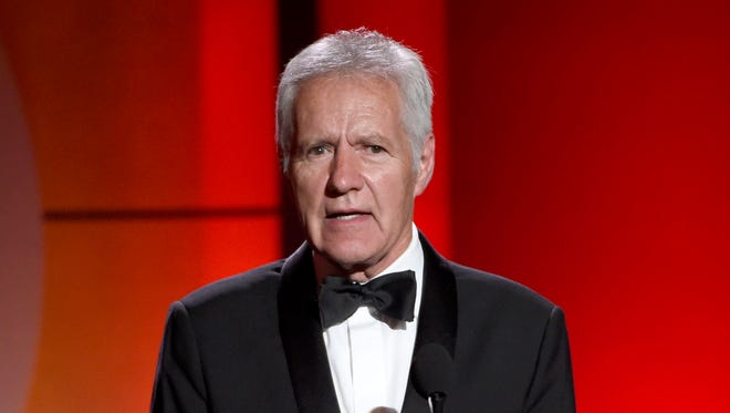 Alex Trebek speaks at the 44th annual Daytime Emmy Awards in Pasadena, Calif. on April 30, 2017 file photo.