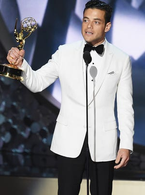 607640718.jpg LOS ANGELES, CA - SEPTEMBER 18:  Actor Rami Malek accepts Outstanding Lead Actor in a Drama Series for 'Mr. Robot' onstage during the 68th Annual Primetime Emmy Awards at Microsoft Theater on September 18, 2016 in Los Angeles, California.  (Photo by Kevin Winter/Getty Images)