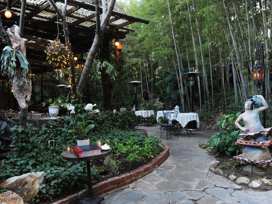 The Ranch House in Ojai offers seating at tables scattered throughout the gardens and on sheltered patios.