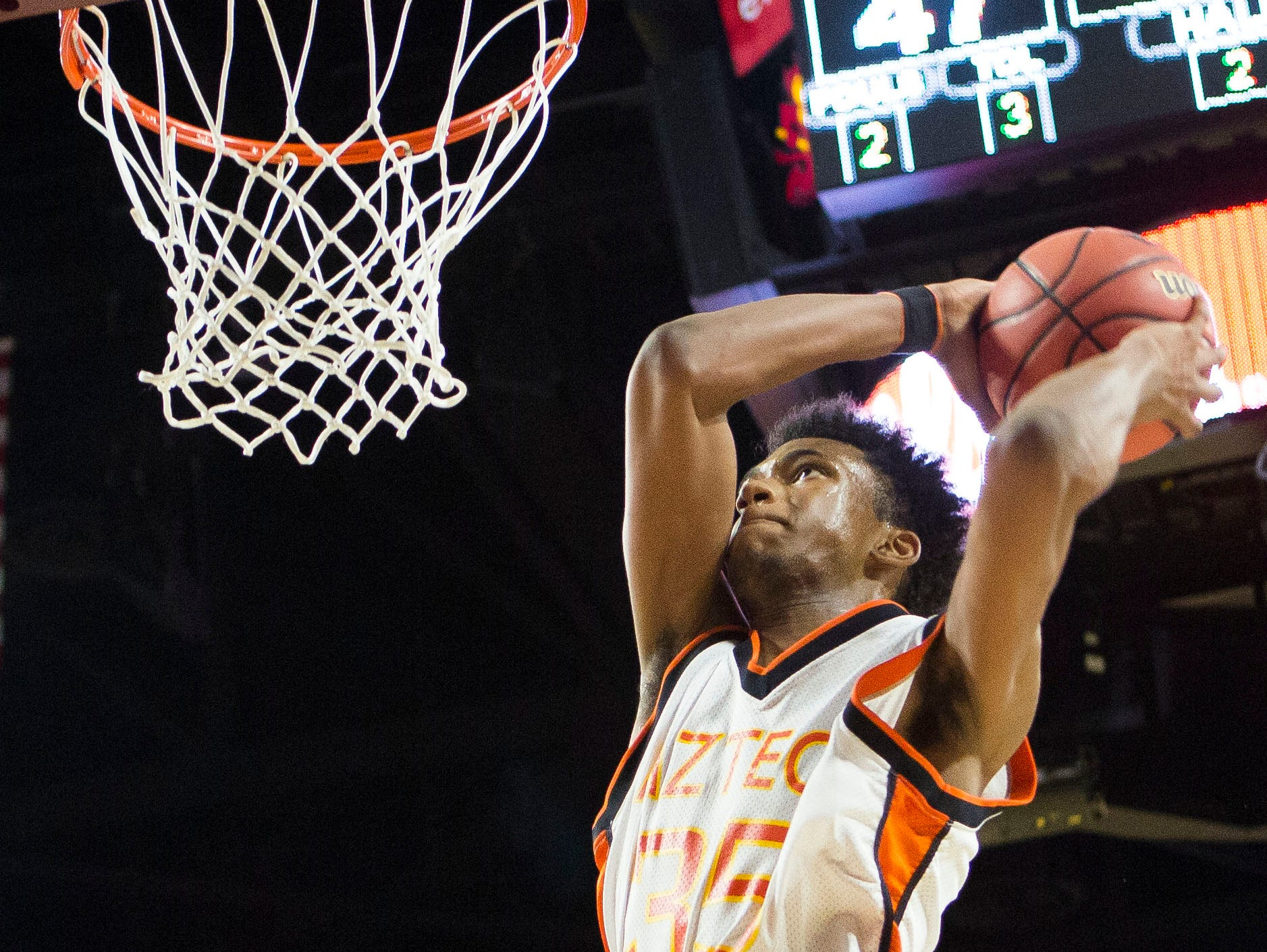 Corona freshman guard Marvin Bagley III dunks the ball during a Corona vs Central boys basketball quarterfinal at Wells Fargo Arena, February 25, 2015 in Tempe, Arizona.