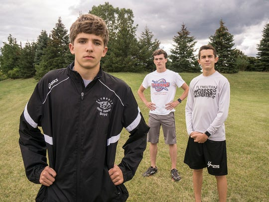 Plymouth's top trio of (from left) Brandon Boyd, Ethan