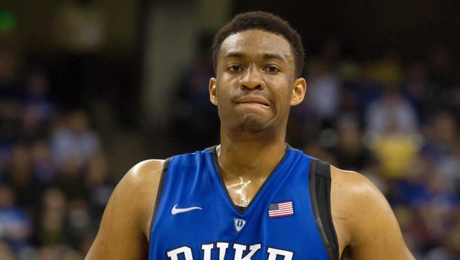 Duke Blue Devils forward Jabari Parker (1) stands on the court during the second half against Wake Forest.