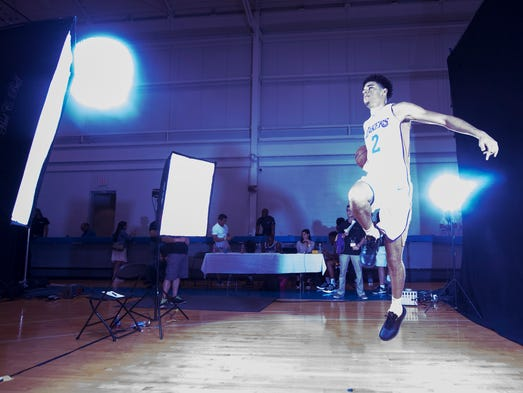 Los Angeles Lakers' Lonzo Ball poses for the cameras.