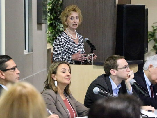 "Joyce Wilson, CEO of Workforce Solutions Borderplex, speaks at the ""State of the Borderplex: Regional Economic and Industry Outlook"" meeting Friday at the El Paso Community College Administrative Services Center at 9050 Viscount Blvd."