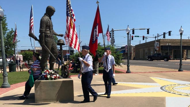 Approximately 50 representatives from different area Veteran groups composed the Color Guard at Monday's Memorial Day event.