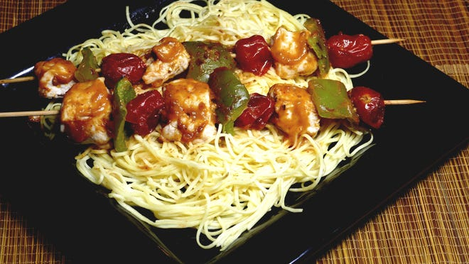 Leave space between ingredients in the Thai Chicken Kabobs for even cooking and then serve with noodles.