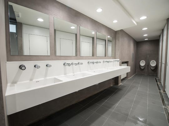 A view of the public restrooms just off St. Peter's Square at the Vatican, Friday, Feb. 6, 2015.