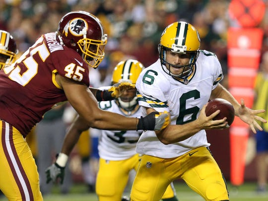 Former Wesley quarterback Joe Callahan (6) was cut by the Green Bay Packers on Saturday.