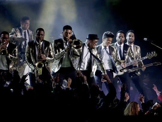 Bruno Mars performs at halftime during Super Bowl XLVIII