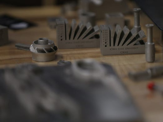 Metal items created by the 3D printer at Iowa State