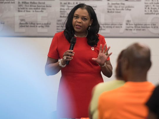District 1 County Commissioner Evelyn Gill addresses the audience at a Juneteenth town hall meeting at the Beck Cultural Exchange Center on Tuesday, June 19, 2018.
