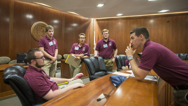 Boys State members deliberate on policy in a mock legislative session at the Capitol in  2016. The educational program provides high school boys the opportunity to participate in local and state government.