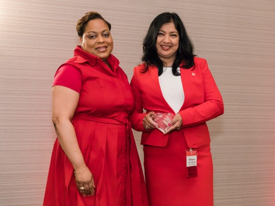 Stephern Allison (left), DHSc, PA, MBA, Vice President of Cardiovascular Services and Care Management at Robert Wood Johnson University Hospital and chair of the 15th Annual Garden State Go Red For Women Luncheon, with Rachana Kulkarni, MD, FACC, 2017 American Heart Association Woman of Distinction in the Business, Industry and Healthcare category.