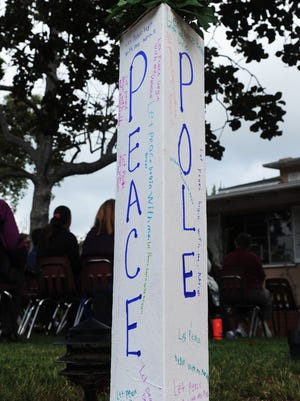 One of 30 peace poles on display as The Gables of Ojai hosts a peace pole celebration for International Peace Day. The event included meditation, music and a dove release.