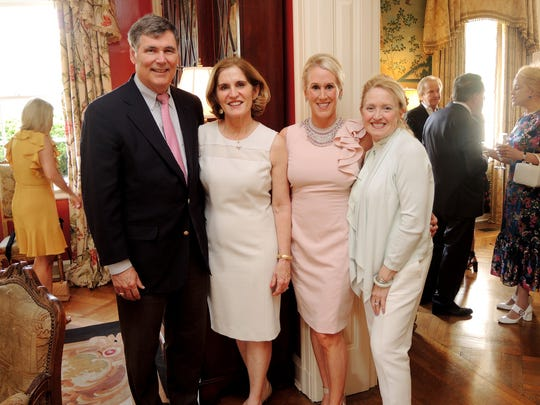 Sallie and Bill Norton, left, Sarah Reisner and Suann Davis at the Swan Ball 2018 Auction Wrap-up Party, held at the home of Ellen Martin.