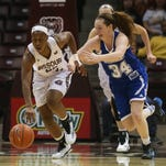 Missouri State guard Tyonna Snow dribbles away from Drake's Cortni Rush at JQH Arena on Sunday.