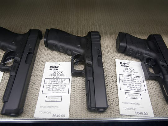 Glocks for sale are displayed at Double Action Indoor
