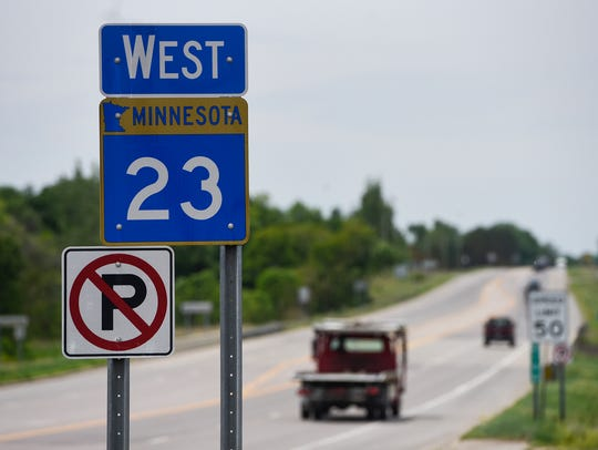 Traffic travels west on Minnesota Highway 23 Thursday,