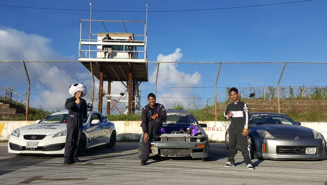Dan Aclaro beat Von Burrell in the third round of the 2016 Proline Drifting Championships Sept. 4 at the Guam International Raceway in Yigo. From left: Aclaro, Burrell and Don Cabuhat, who finished third.