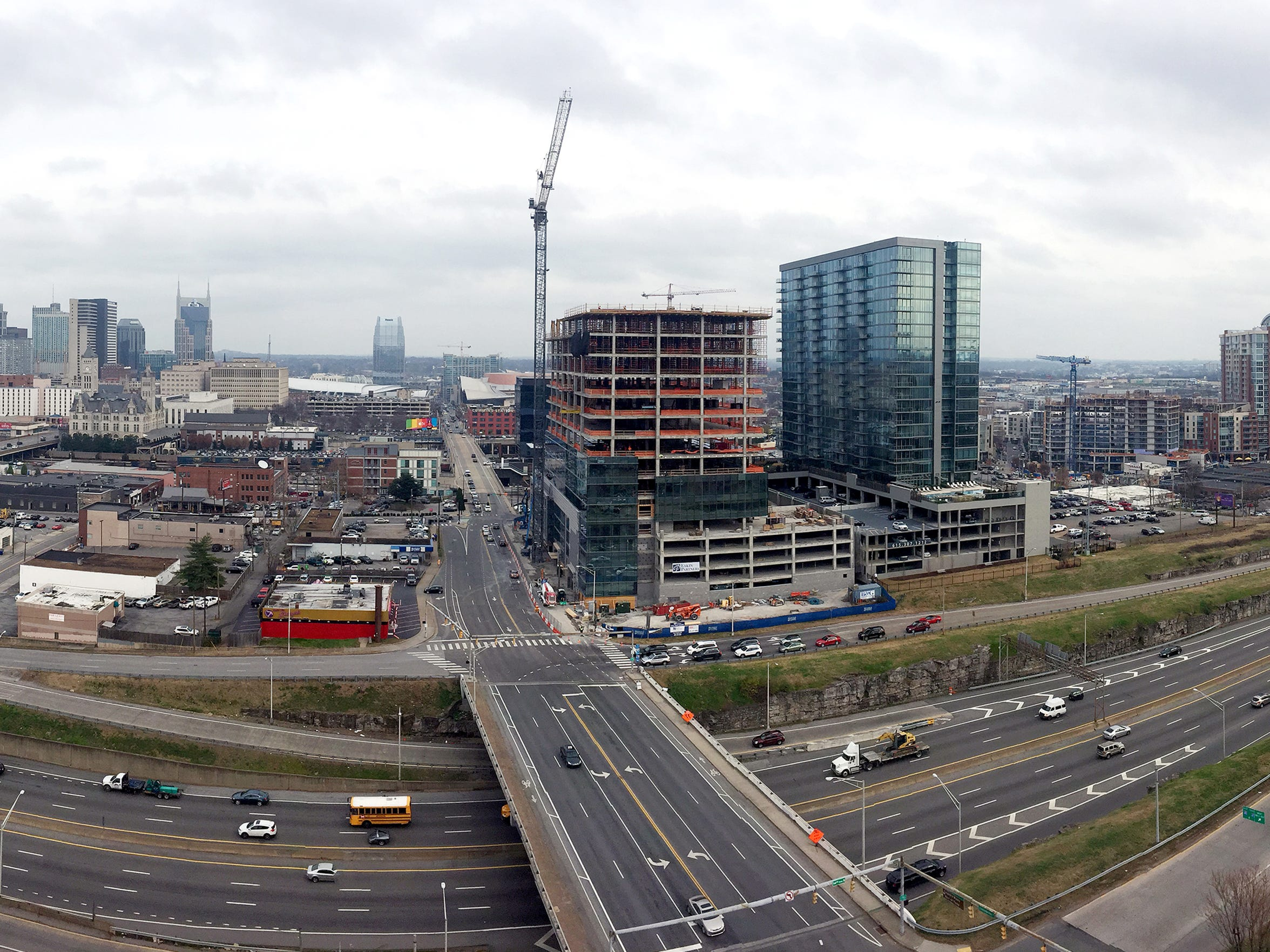 A panoramic view of Nashville looking down Demonbreun