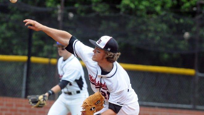 Carson Jones pitches Saturday in Weaverville.