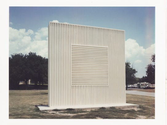 """A photograph of a Sol LeWitt outdoor sculpture. LeWitt's artwork will be discussed by Marisa Sage, New Mexico State University art museum director, in a seminar called """"Hidden Treasures: The Art of Sol LeWitt"""" on April 19."""